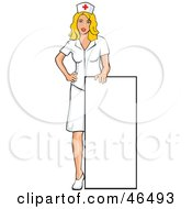 Royalty Free RF Clipart Illustration Of A Young Blond Nurse Holding Up A Blank Sign by David Rey