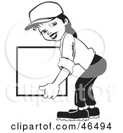 Royalty Free RF Clipart Illustration Of A Friendly Black And White Delivery Woman Carrying A Blank Box by David Rey