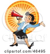 Royalty Free RF Clipart Illustration Of An Energetic Business Woman Announcing Through A Megaphone At A Fair by David Rey