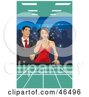 Royalty Free RF Clipart Illustration Of A Happy Hispanic Couple Blowing On Dice And Gambling In A Casino by David Rey
