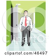 Royalty Free RF Clipart Illustration Of A Corporate Businessman Wearing A Badge And Standing In An Office Hallway by David Rey