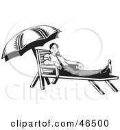 Royalty Free RF Clipart Illustration Of A Black And White Businessman Resting On A Lounge Chair On His Break by David Rey