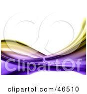 Royalty Free RF Clipart Illustration Of An Abstract Yellow And Purple Swooshy Wave On White