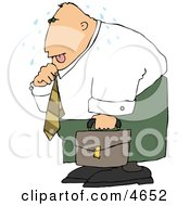 Hot Businessman Loosening Up The Tie Around His Neck Clipart