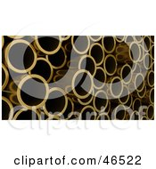 Royalty Free RF Clipart Illustration Of A Stack Of 3d Copper Pipes by KJ Pargeter