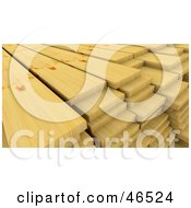 Royalty Free RF Clipart Illustration Of 3d Pine Wood Planks Stacked In A Lumber Yard