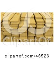 Royalty Free RF Clipart Illustration Of A Stack Of 3d Pine Wood Planks