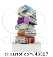 Royalty Free RF Clipart Illustration Of A Messy Stack Of Colorful 3d Library Books by KJ Pargeter