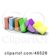Royalty Free RF Clipart Illustration Of A Row Of Collapsing Colorful 3d Books by KJ Pargeter