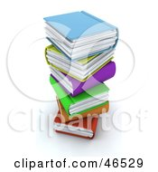 Messy Stack Of Colorful 3d Books
