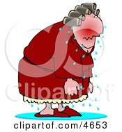 Elderly Menopause Woman Having A Hot Flash Clipart