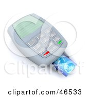 Royalty Free RF Clipart Illustration Of A Credit Card Resting On A Machine Reading Card Declined by KJ Pargeter