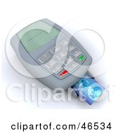 Royalty Free RF Clipart Illustration Of A Credit Card Resting On A Machine Reading Transaction Void by KJ Pargeter
