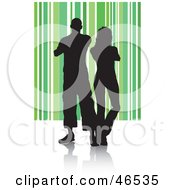Royalty Free RF Clipart Illustration Of A Silhouetted Couple Standing Shoulder To Shoulder On A Green Striped Background