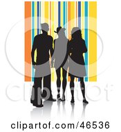 Royalty Free RF Clipart Illustration Of Silhouetted Adults Against A Yellow And Blue Striped Background