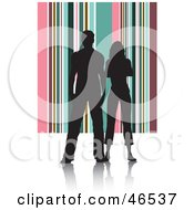 Royalty Free RF Clipart Illustration Of A Silhouetted Couple Standing Against A Pink And Green Striped Background