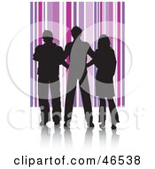 Royalty Free RF Clipart Illustration Of Silhouetted Adults Against A Purple Striped Background