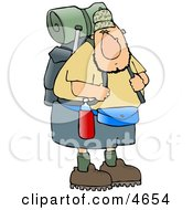 Adventurous Male Hiker Carrying Backpack And Camping Gear