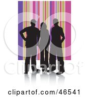 Royalty Free RF Clipart Illustration Of Silhouetted Adults Against A Pink And Purple Striped Background
