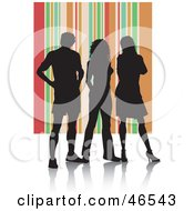 Royalty Free RF Clipart Illustration Of Silhouetted Adults Against An Orange Striped Background
