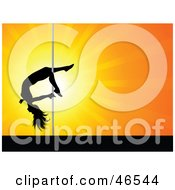 Royalty Free RF Clipart Illustration Of A Talented Female Pole Dancer Sliding Down The Pole On Her Leg by KJ Pargeter