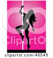 Royalty Free RF Clipart Illustration Of A Seductive Silhouetted Pole Dancer Embracing A Pole by KJ Pargeter