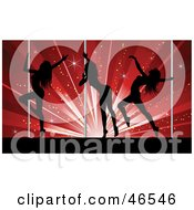 Three Sexy Silhouetted Pole Dancers In A Club