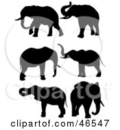 Royalty Free RF Clipart Illustration Of A Digital Collage Of Elephant Black Silhouettes by KJ Pargeter