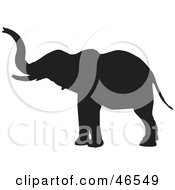Royalty Free RF Clipart Illustration Of An Elephant Extending His Trunk Black Silhouette On White by KJ Pargeter