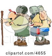 Two Male Hikers With Backpacks And Hiking Gear Clipart