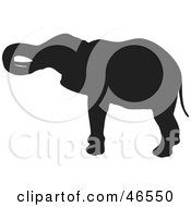 Royalty Free RF Clipart Illustration Of An Elephant Scratching His Head Black Silhouette On White by KJ Pargeter