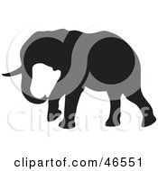 Royalty Free RF Clipart Illustration Of An Elephant Walking Black Silhouette On White by KJ Pargeter