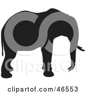 Royalty Free RF Clipart Illustration Of An Elephant Profile Black Silhouette On White by KJ Pargeter