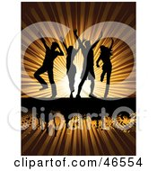 Royalty Free RF Clipart Illustration Of Silhouetted Adults Crumping On A Bursting Sun Background