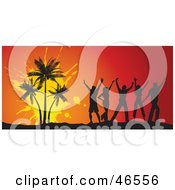 Royalty Free RF Clipart Illustration Of Young Silhouetted Adults Dancing By Palm Trees At A Summer Party