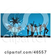 Royalty Free RF Clipart Illustration Of Dancing Young Silhouetted Adults By Palm Trees At A Summer Party