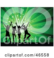 Royalty Free RF Clipart Illustration Of A Group Of Silhouetted People Crumping At A Party