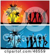 Royalty Free RF Clipart Illustration Of A Digital Collage Of Young Silhouetted Adults Dancing By Palm Trees