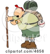 Male Hiker Checking His Compass Clipart