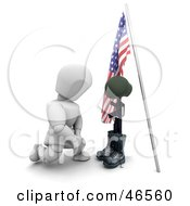 Royalty Free RF Clipart Illustration Of A 3d White Character Kneeling At The Grave Of A Fallen War Soldier On Memorial Day