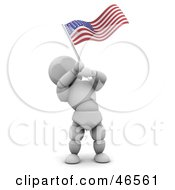 Royalty Free RF Clipart Illustration Of A 3d White Character Waving An American Flag On Independence Day by KJ Pargeter