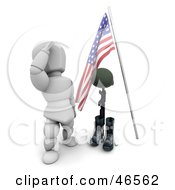 Royalty Free RF Clipart Illustration Of A White Character Sauluting The Grave Of A Fallen War Soldier On Memorial Day by KJ Pargeter
