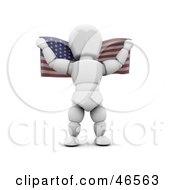 Royalty Free RF Clipart Illustration Of A 3d White Character Holding An American Flag Behind His Back On Independence Day by KJ Pargeter
