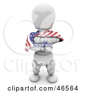 Royalty Free RF Clipart Illustration Of A 3d White Character Draping Himself In An American Flag On Independence Day by KJ Pargeter