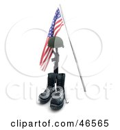 Royalty Free RF Clipart Illustration Of A Fallen War Heros Helmet Rifle And Boots Under An American Flag by KJ Pargeter