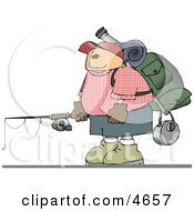 Young Male Hiker Carrying Camping Gear And A Fishing Pole Clipart