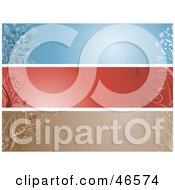 Royalty Free RF Clipart Illustration Of A Digital Collage Of Brown Red And Blue Horizontal Floral Panels Or Blank Website Headers