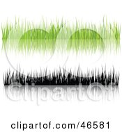 Royalty Free RF Clipart Illustration Of A Digital Collage Of Green And Black Silhouetted Grass Blades With Reflections On White