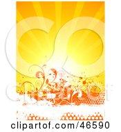 Bright Sun Burst Over Orange Floral Grunge