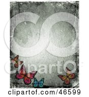 Royalty Free RF Clipart Illustration Of A Grungy Butterfly Border With Scratches